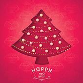 Retro red christmas fir-tree