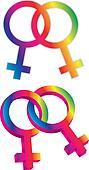 Female Gender Same Sex Symbols Illustration