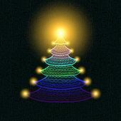 Hand drawn Christmas tree with lights on black