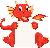 Cute dragon cartoon holding blank s