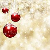 Christmas baubles and  snowflake background