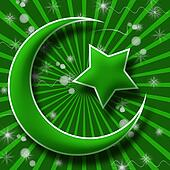 Islam Symbol in Green Burst and Spa