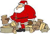Santa splitting logs