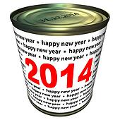 Happy new year 2014 - can with numbers 2014