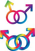 Male Gay Gender Symbols Intertwined Illustration