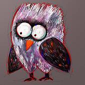 doodle crazy owl, digital painting illustration