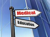 Education concept: sign Medical Education on Building background, 3d render