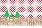 Christmas Trees on Jute and red Polka Dot Background, Paper Tear