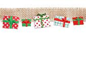Row of Gifts on Jute Border, Paper Tear, Christmas Ornaments