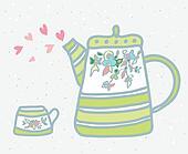 Tea pot, cup and love symbols background illustration