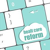 cloud icon with health care reform word on computer keyboard key