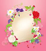 illustration of love letter with hearts and flowers - rose,  daisy, bluebell, violet on pink background