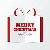 Christmas box cut the paper. Cutout paper gift box
