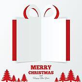 Christmas gift box cut the paper. Christmas tree.