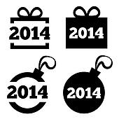 New Year 2014 black icons. Christmas gift, ball.