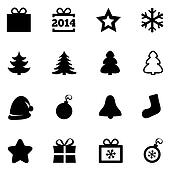 Christmas black flat icons. New Year 2014 icons.