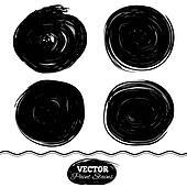 Black paint spots set. Ink brush Circle set