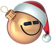 Smiling face Christmas ball gold
