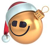 Smiley face Christmas ball gold ico