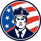 American Policeman Security Guard Retro