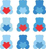 Cute Teddy Bear with hearts set isolated on white ( blue & red )