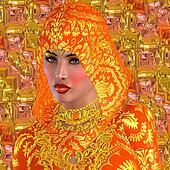 Beautiful face under orange hood