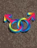 Male Gay Gender 3D Symbols Interlocking Illustration