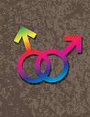 Male Gay Gender Symbols Interlocking Illustration