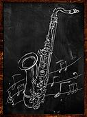 Saxophone drawing sketching