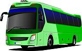 Green tourist bus. Coach. Vector illustration