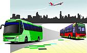 City panorama with two buses and plane images. Coach. Vector illustration