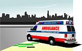 Modern ambulance van on city background. Colored vector illustration