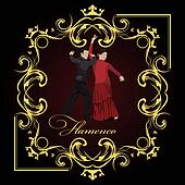 Beautiful young couple dancing flamenco poster. Vector illustration