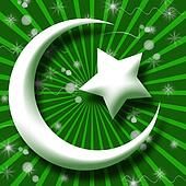 White Islam Symbol in Green Burst a