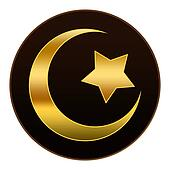 Golden  Islam Symbol in Dark Brown
