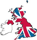 great britain - map and flag