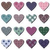 set with scrapbook hearts
