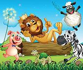 A king lion surrounded with animals