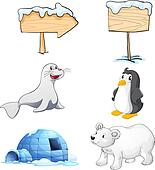Signboards, animals and an igloo at the north pole