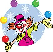 circus clown with balls