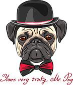 vector sketch hipster dog pug breed