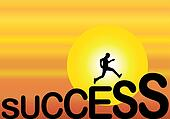A fit healthy man running up the big success text silhouette with a bright orange evening sky with big yellow sun in the background