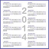 Simple 2014 year calendar
