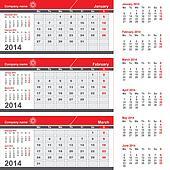 Three month calendar - January, February, March