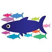 Flock of sea fish