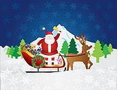 Santa Claus on Reindeer Sleigh with Presents Night Snow Scene