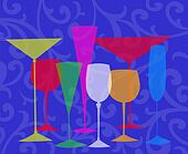 Stylized Drinks on a Blue Background