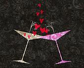 Tilted Champagne or Martini Glasses With Hearts