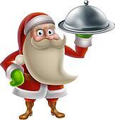 Cartoon Santa Cooking Christmas Dinner