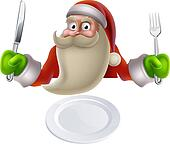 Santa Eating Christmas Dinner Food